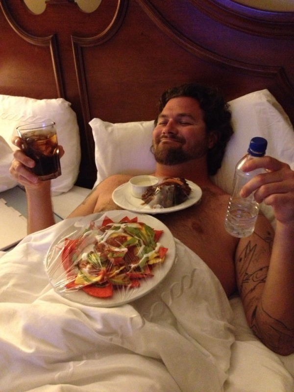 drinking and eating in bed