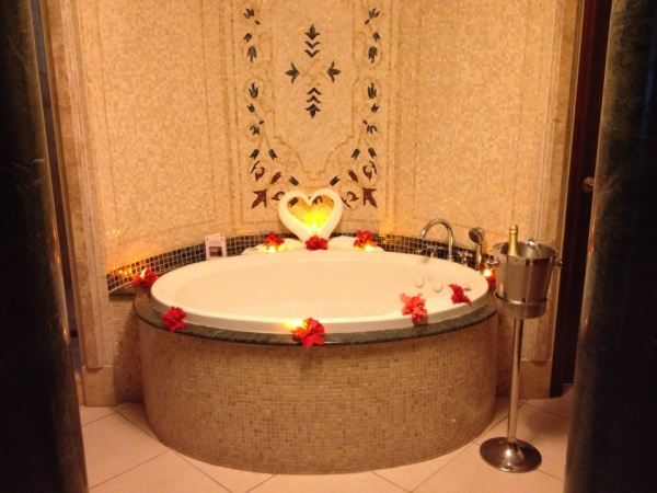 romantic decorated bathtub