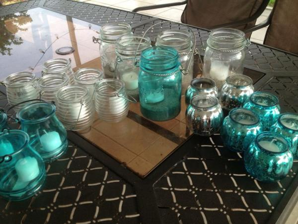 aqua and clear candle holders